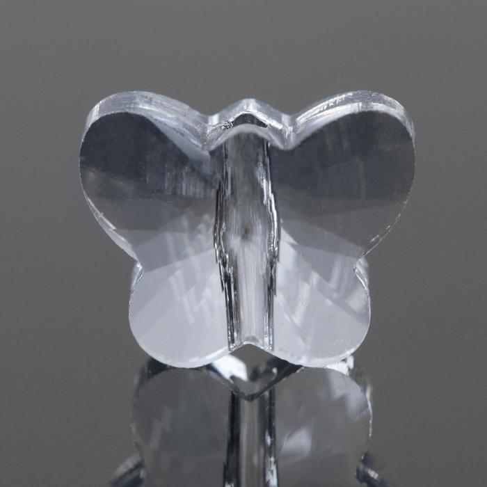 Бусина стеклянная, 10*8мм, бабочка , цвет кристально-прозрачный