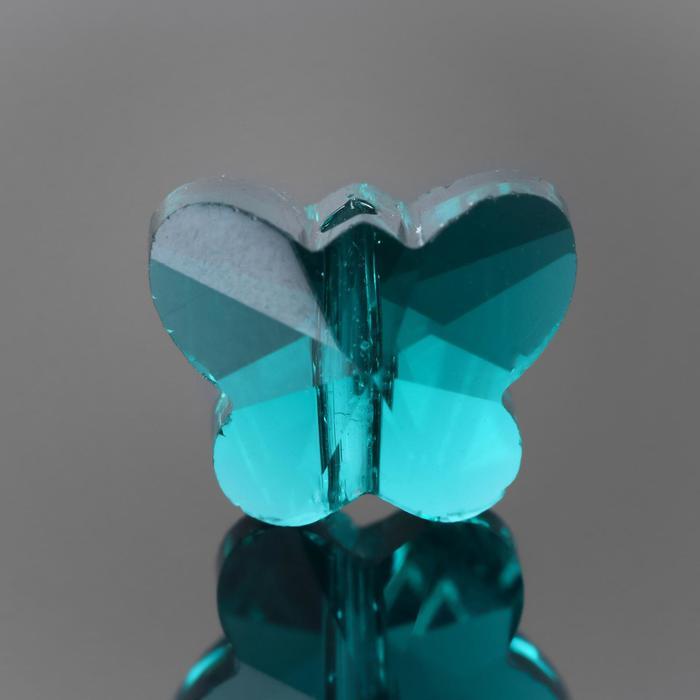 Бусина стеклянная, 10*8мм, бабочка, цвет сине-зеленый