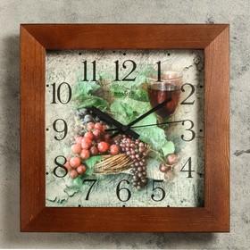 Часы настенные квадратные 'Гроздья винограда', деревянные Ош