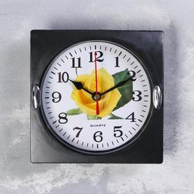 Часы настенные, серия: Цветы, 'Роза желтая' 15х15 см Ош