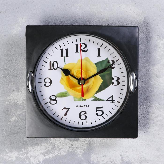 Часы настенные, серия Цветы, Роза жёлтая, дискретный ход, 15 х 15 см, d13 см