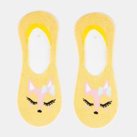 Носки-невидимки женские, цвет жёлтый, размер 23-25 (36-40)