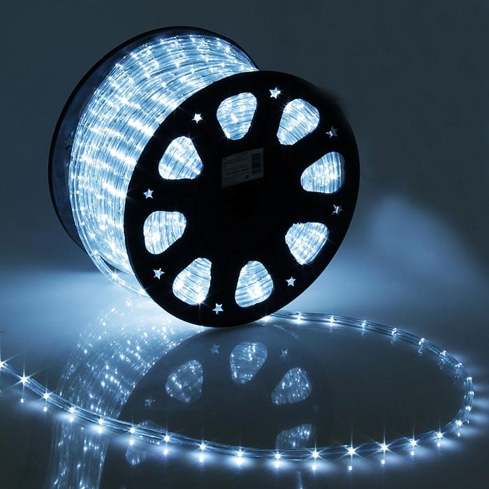 LED шнур 11 мм, круглый, 100 м, фиксинг, 2W-LED/м-24-220V, в компл. набор д/подкл, БЕЛЫЙ
