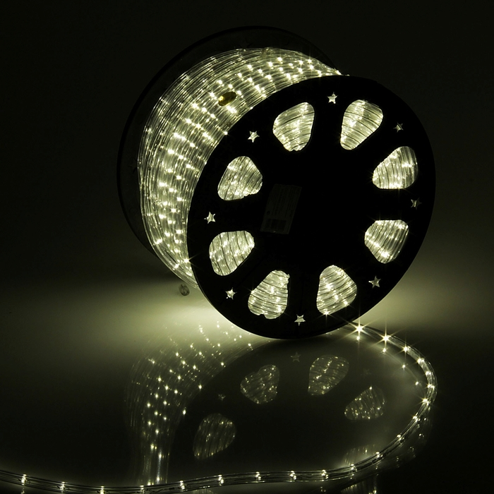 LED шнур 11 мм, круглый, 100 м, фиксинг, 2W-LED/м-24-220V в компл. набор д/подкл, Т/БЕЛЫЙ