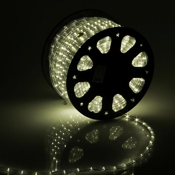 LED шнур 11 мм, круглый, 100 м, фиксинг, 2W-LEDм-24-220V в компл. набор дподкл, ТБЕЛЫЙ