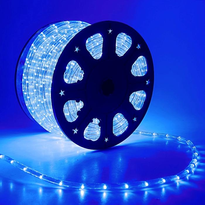LED шнур 11 мм, круглый, 100 м, фиксинг, 2W-LED/м-24-220V в компл. набор д/подкл, СИНИЙ