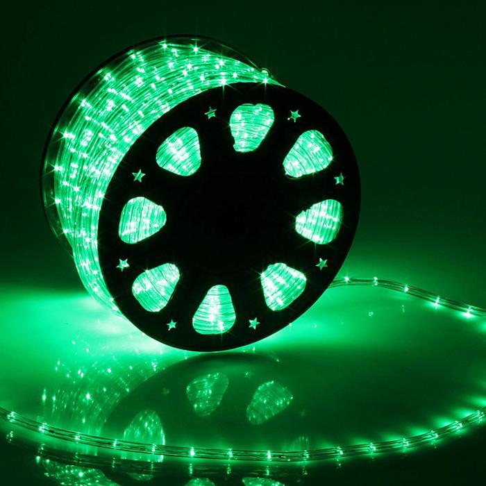 LED шнур 11 мм, круглый, 100 м, фиксинг, 2W-LED/м-24-220V, в компл. набор д/подкл, ЗЕЛЕНЫЙ