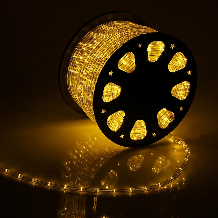 LED шнур 11 мм, круглый, 100 м, фиксинг, 2W-LED/м-24-220V, в компл. набор д/подкл, ЖЕЛТЫЙ