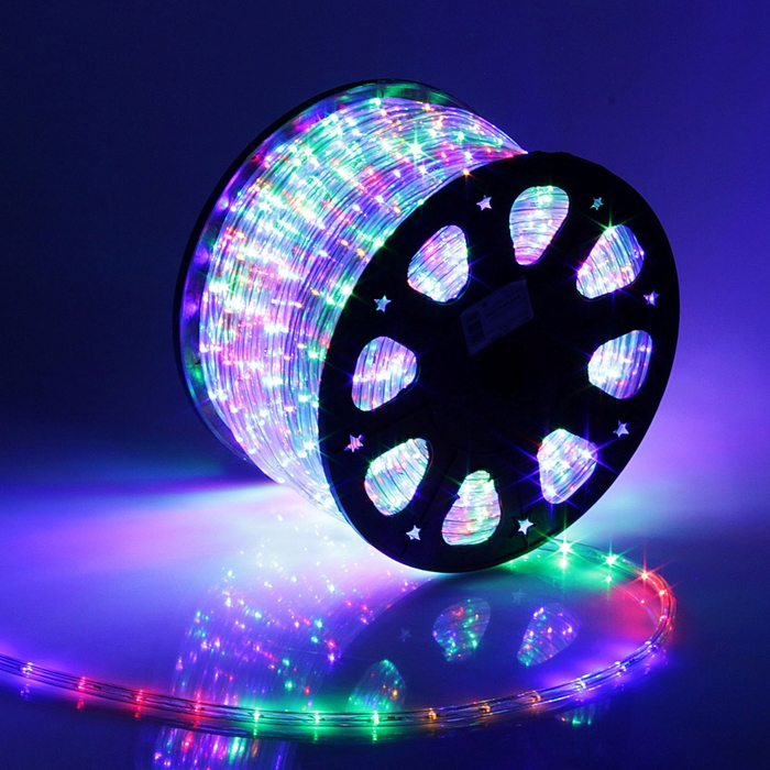 LED шнур 11 мм, круглый, 100 м, фиксинг, 2W-LED/м-24-220V, в компл. набор д/подкл, МУЛЬТИ