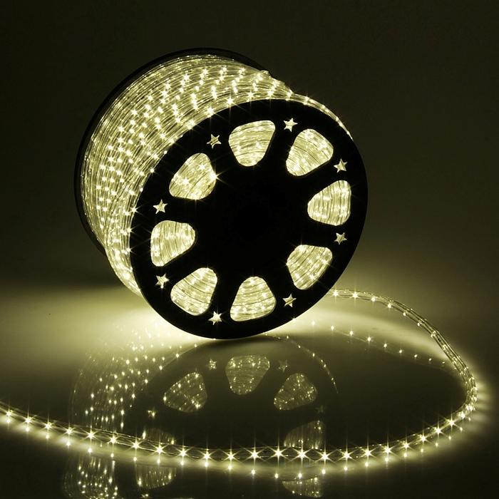 LED шнур 13 мм, круглый, 100 м, фиксинг, 2W-LED/м-36-220V в компл. набор д/подкл, Т/БЕЛЫЙ