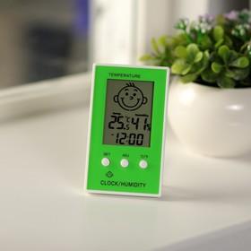 Термометр LuazON LTR-12, электронный, указатель влажности, часы, МИКС Ош
