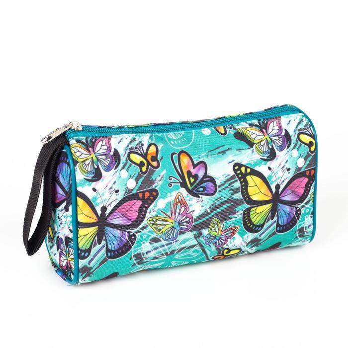 Косметичка-сумочка, отдел на молнии, цвет зелёный