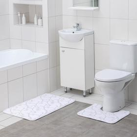 Набор ковриков для ванны и туалета Доляна «Вензель», 2 шт: 40×50, 50×80 см, цвет молочный