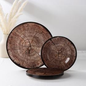 Набор столовый «Спил дерева», 7 предметов: 30 см - 1 шт, 21,5 см - 6 шт, в подарочной упаковке