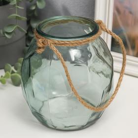 """Подсвечник стекло на 1 свечу """"Лофт с гранями"""" прозрачный зелёный с веревкой 14,7х13,5х13 см   549143"""