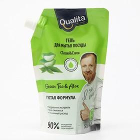 Средство для мытья посуды, QUALITA  GREEN TEA&ALOE, дой-пак, 500 мл