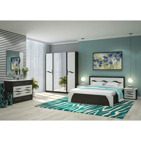 Спальня Валенсия МДФ, Кровать 1600, 2 тумбы, комод, зеркало, Венге/Арктик Ош