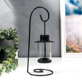 """Подсвечник металл, стекло на 1 свечу """"Подвесной фонарик"""" чёрный 25,5х10х10,5 см"""