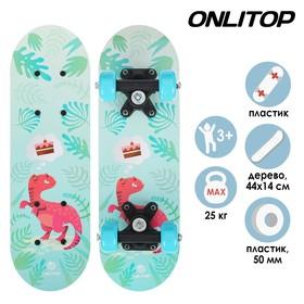 Скейтборд детский «Динозавр» 44 × 14 см, колёса PVC 50 мм, пластиковая рама Ош