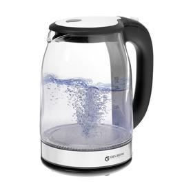 Чайник электрический GELBERK GL-397, стекло, 1.7 л, 1500 Вт, подсветка, серебристый