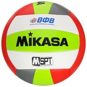 Мяч волейбольный пляжный MIKASA VXS-BFL, размер 5, синтетическая кожа (ТПУ), ВФВ, 18 панелей, машинная сшивка, бутиловая камера, цвет зелёный