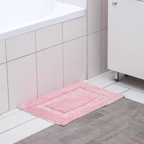 Коврик «Цветы», 40×60 см, 900 г/м2, 100% хлопок, цвет розовый