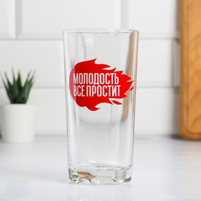"""Стакан с деколью """"Молодость все простит"""" 3505 мл"""