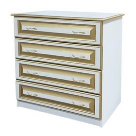 Комод «Классика», 4 ящика, 900 × 440 × 870 мм, сосна, белый с золотой патиной Ош