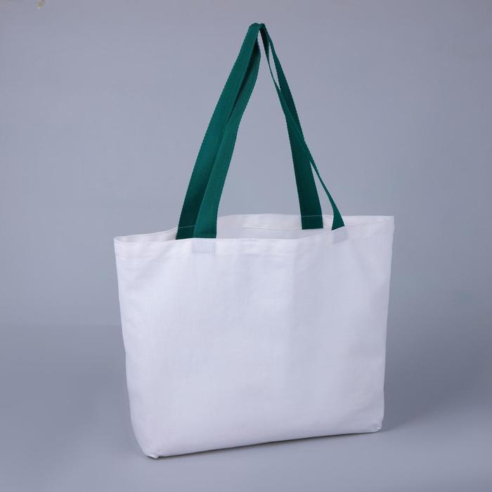 Сумка шопер, отдел без молнии, цвет белыйзелёный