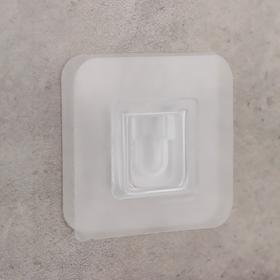 Крючок настенный двойной 6×6×0,5 см, цвет прозрачный Ош