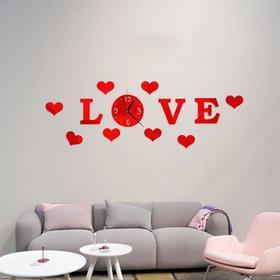Часы-наклейка 'Love', d часы=15 см, буквы 11 см, сердца 8х6 см, красные Ош