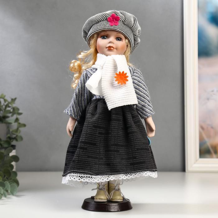 Кукла коллекционная керамика Блондинка с кудрями, наряд в полоску и берете 30 см