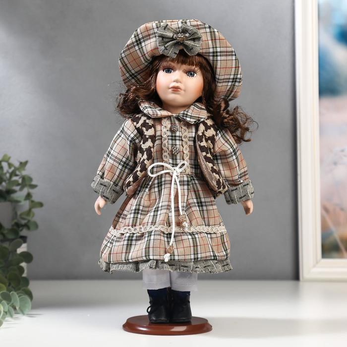 Кукла коллекционная керамика Шатенка в бежево-зелёном наряде в клетку 30 см