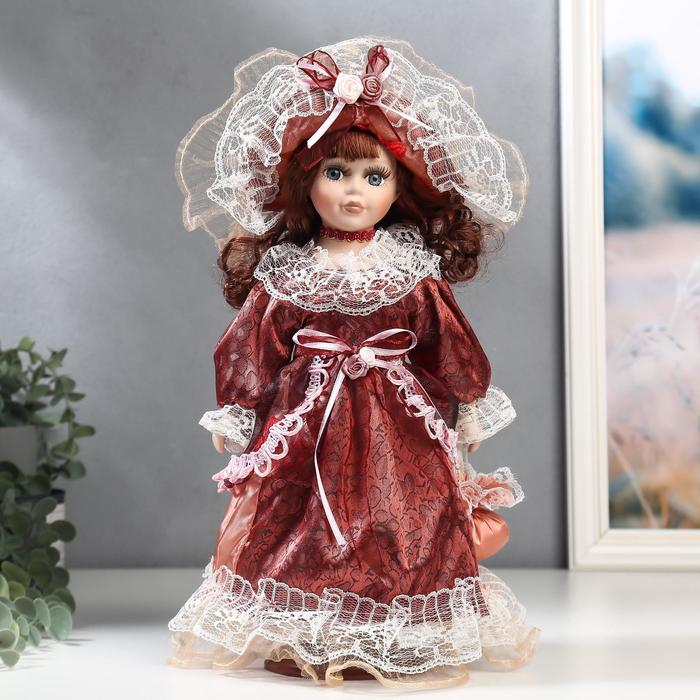 Кукла коллекционная керамика Маленькая мисс в бордовом платье 30 см