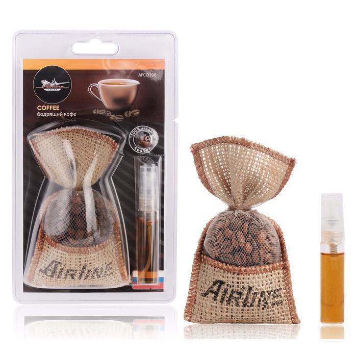 Ароматизатор AIRLINE Кофе в мешочке со спреем, бодрящий кофе AFCO198