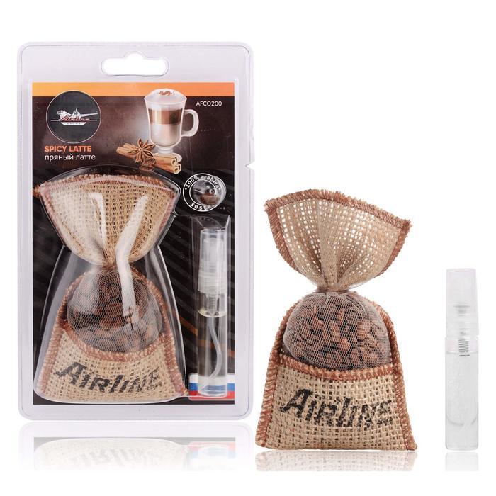 Ароматизатор AIRLINE Кофе в мешочке со спреем, пряный латте AFCO200