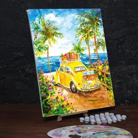 Картина по номерам на холсте с подрамником «Машина на пляже» 40х50 см