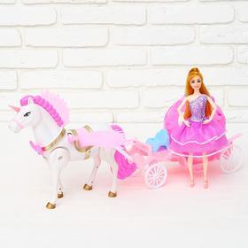 Карета для кукол, лошадка ходит, с куклой Ош