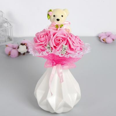 Букет с мишкой «От всего сердца», 7 цветов, цвета МИКС