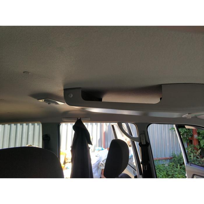 Консоль потолочная для установки рc УАЗ Патриот 2019, без выреза под рс, с карманом, серая   67630