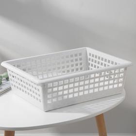 Корзинка универсальная, 31×40×13 см, цвет белый мрамор