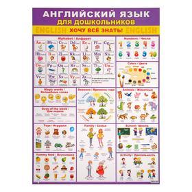 """Плакат """"Английский язык для дошкольников"""" фиолетовый фон, А2"""