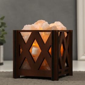 Соляной светильник с диммером 'Корзина. Ромб' малый 1,4 кг, 15Вт, 15х12х12 см Ош