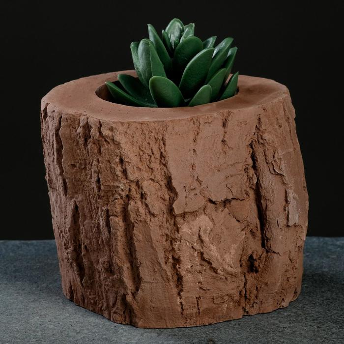 Кашпо «Пень», коричневое, 10 х 8,5 см