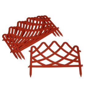 Ограждение декоративное, 37 × 196 см, 4 секции, пластик, терракотовое, «Волна»