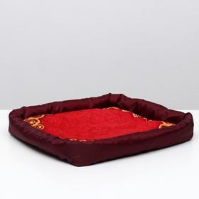 Лежанка с бортом 'Узор красный', 42 х 42 х 5 см, микс цветов Ош