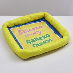 Лежанка с бортом 'Высако сижу, далеко гляжу', 42 х 42 х 5 см, микс цветов Ош