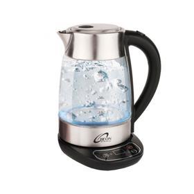 Чайник электрический Beon BN-378, стекло, 1.7 л, 2200 Вт, регулировка t°, серебристый