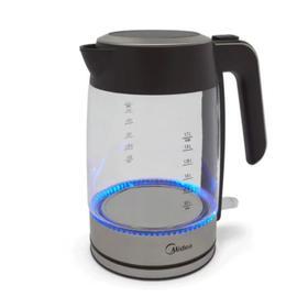 Чайник электрический Midea MK 8003, стекло, 1.7 л, 2200 Вт, подсветка, серебристо-чёрный