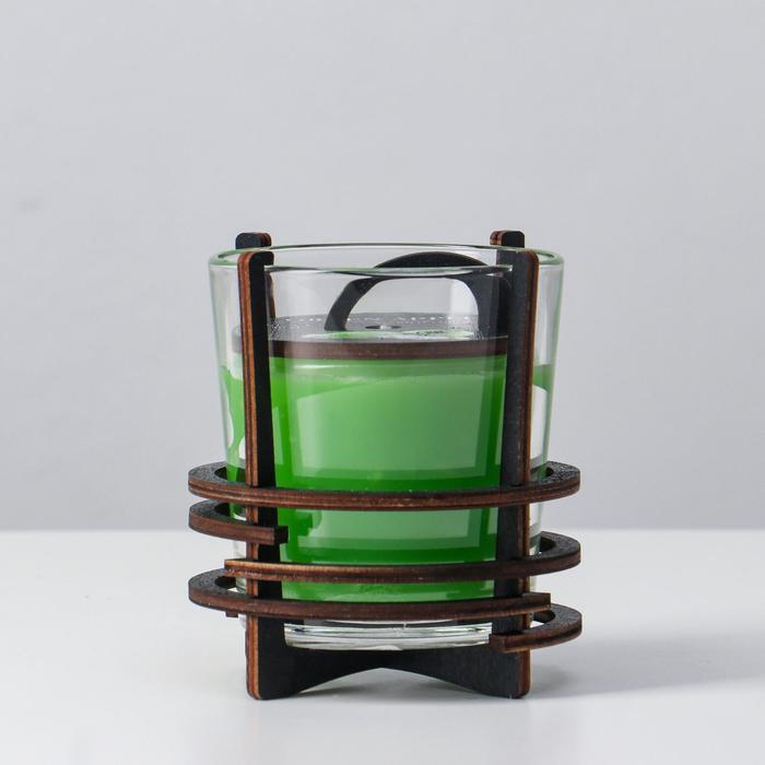 Ароматическая свеча в стекле с декором GREEN APPLE, 10х9,5 см, 150 гр